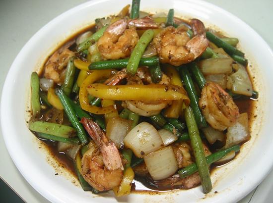 にんにくの芽と海老のトウチ醤炒め