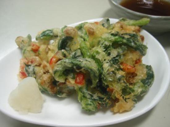 菜の花と納豆のかき揚げ